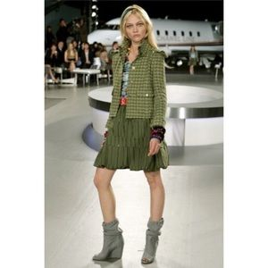 Chanel 08C Runway Green Cotton Jacket 36 S